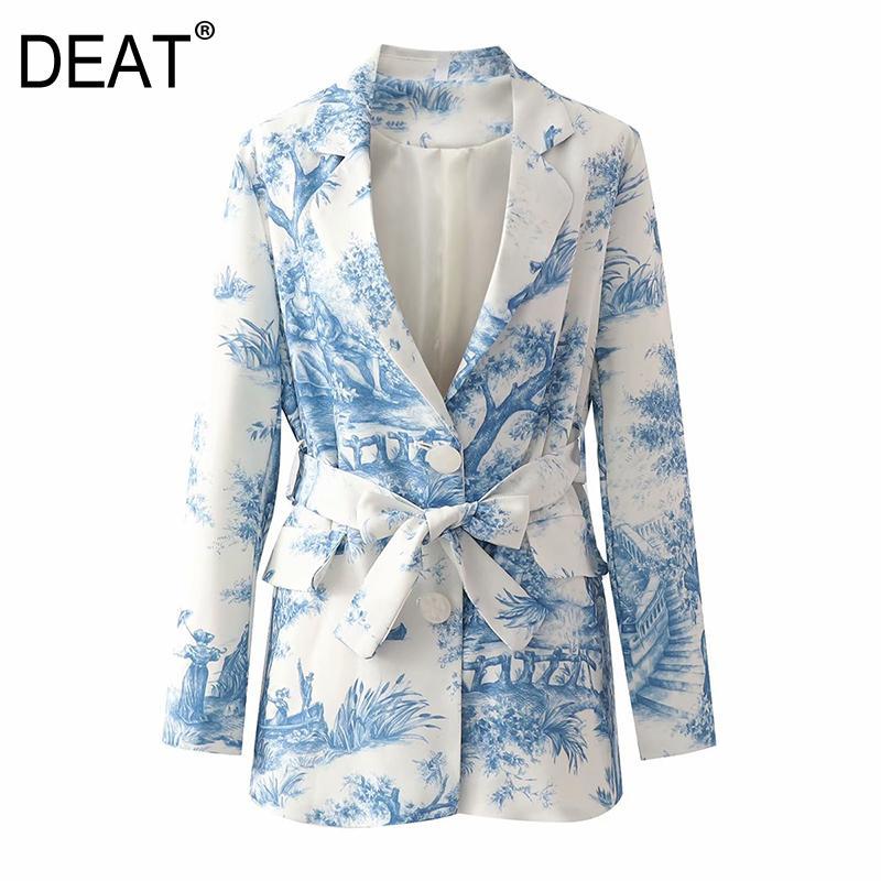 [Deat] mulheres impressas bateu cor arco blazer novo lapela manga longa solta apto casaco moda maré outono outono 13T625 201114