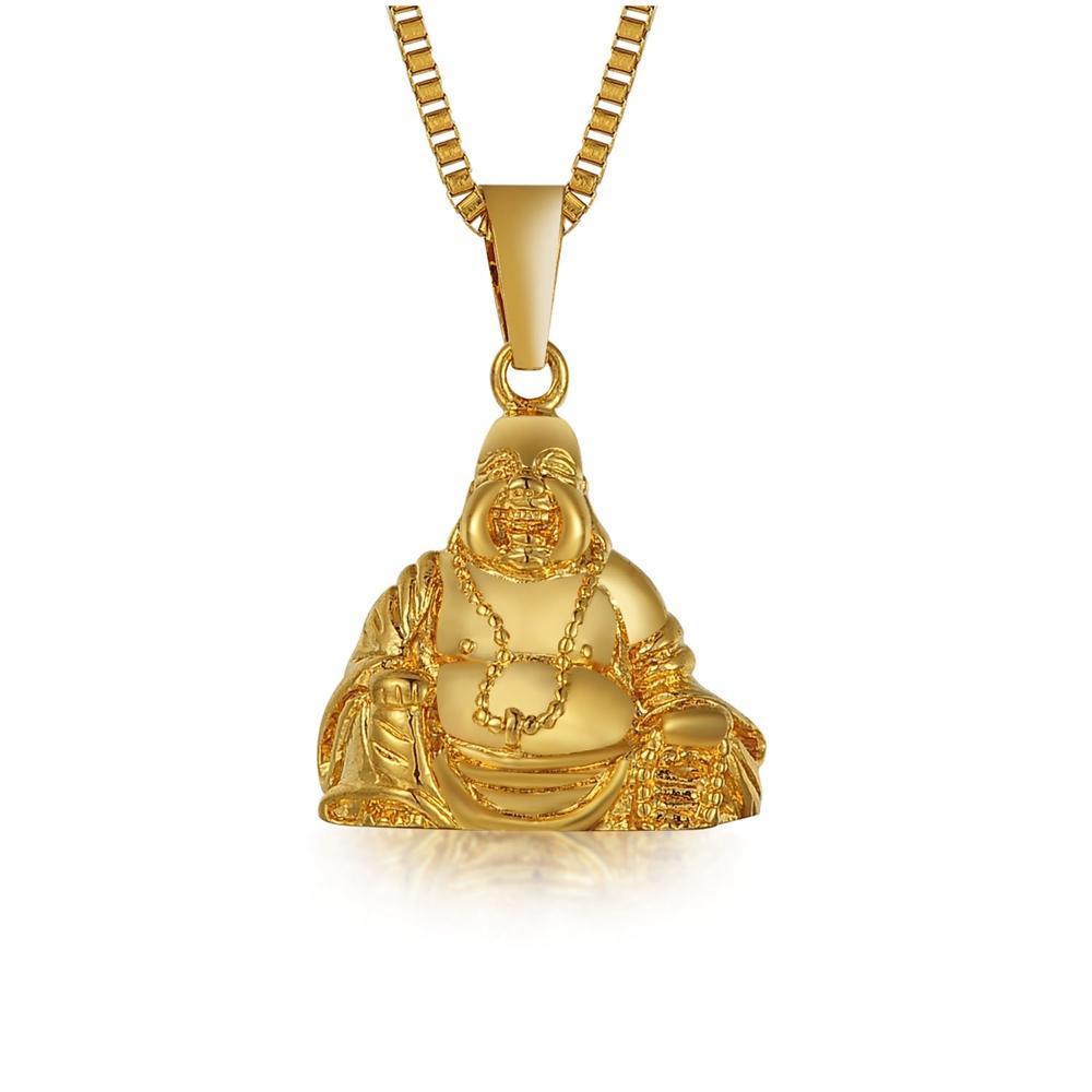 Alta Qualidade Colar Vintage Gold Buddha Pingente Homens Mulheres Budismo Jóias