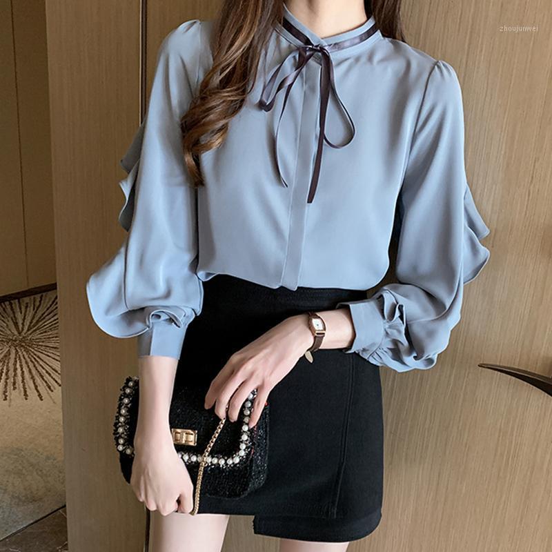 Chemises à manches longues pour femmes 2020 automne nouvelle version coréenne de la chemise de mousseline de mousseline de mousseline de mousseline de mousseline de mousseline de la mode