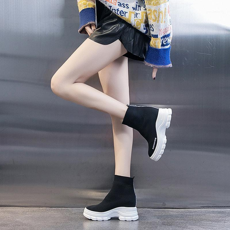 Swyivy Chaussettes Chaussures Bottines Bottines Femmes Platform Sneakers Blanc Automne 2020 Chaussures décontractées Femme Wedge Chunky Sneins Blanc1