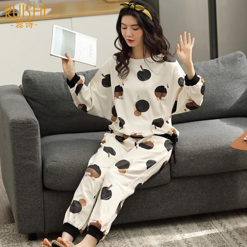 Pijama Entero Mujer Automne et hiver Coton Pyjamas Femmes peut être porté à l'extérieur de la maison Service costume Pizama Damska Komplet