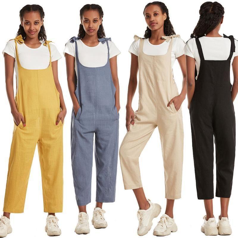 Хлопковые льняные комбинезоны женщины летние мода твердого цвета комбинезон дамы повседневные карманные длинные комбинезоны женские комбинезоны 2020 ju6