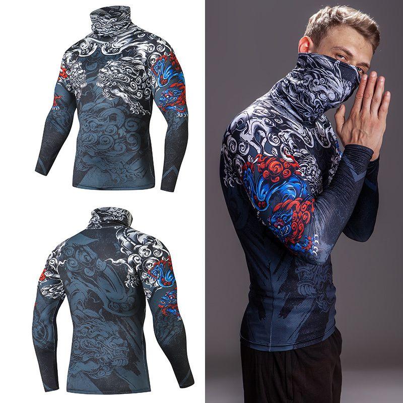 Alto colletto con maschera T Shirt Streetwear Gym Gym Uomo Casual 3D T Shirt T-shirt Compressione Fitness Camicie a risvolto Biancheria intima Abbigliamento termico Top maschili Y200623