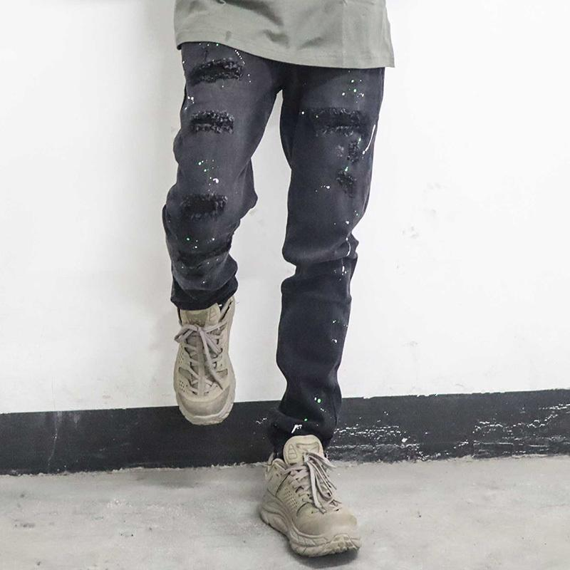 2021 yeni mürekkep boyalı delik kot erkekler için yüksek sokak boy düz kalem pantolon Harajuku yıkanmış retro gevşek denin torusers FYFA