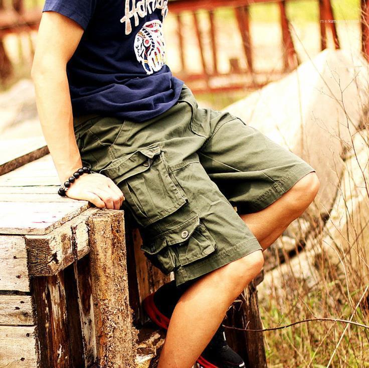 Homens Curtos Roupas High Street Mens Camuflagem Bolso Cargo Shorts Homem Joelho Comprimento Casual Verão Loose