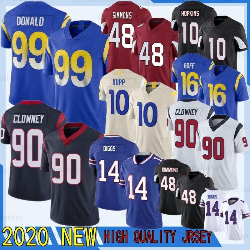 Stefon Diggs 2020 Jadeveon Clowney 16 Goff 99 Donald 10 Kupp New Deandre Hopkins 48 Simmons Football Jersey