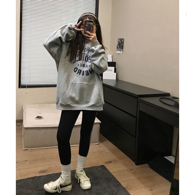 Wang Maiden's Mağaza Hoodie 2020 Yeni Sonbahar / Kış Gri Peluş Gevşek Kore BF Çok Yönlü Ceket