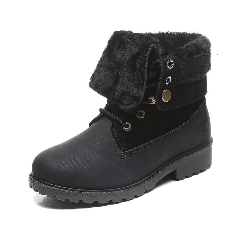 Hot Sale-Women Winter Snow Boots Warm Shoes With Fur Turned-over-Edge Big Size Female Ankle Boots Lace Up Ladies Footwear 2020