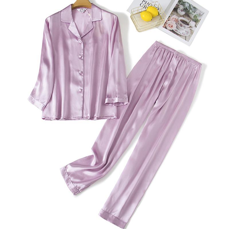 Пижамы для женщин Pajamas 100% чистый шелк 19 мм ночной костюм дома носить 2 штуки / набор