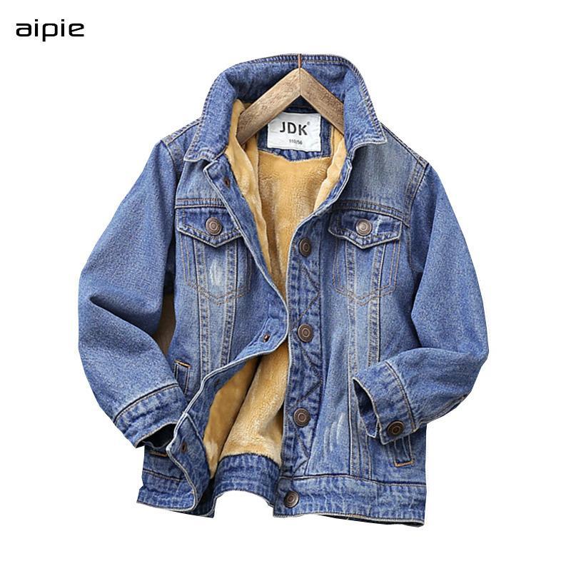 Зимние детские джинсовые куртки Новая мода стиль с капюшоном хлопок детские джинсовые пальто мальчика одежда на 4-14 лет.
