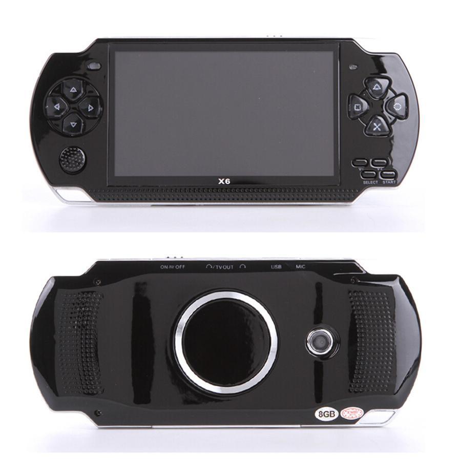 Soporte PSP One Nes Handheld Game Console 4.3 pulgadas de pantalla MP4 Player MP5 Juego Jugador Real 8GB para 1500 juegos, cámara, video, e-book pk x6 x9 x12