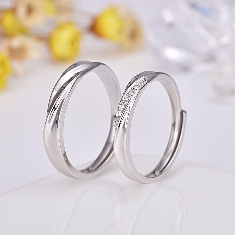 Guanming Anel de Prata Japonês e Coreano Casal Anel Um Par De S925 Sterling Silver Mens e Womens Aberta Boca Cauda Ring Jóias