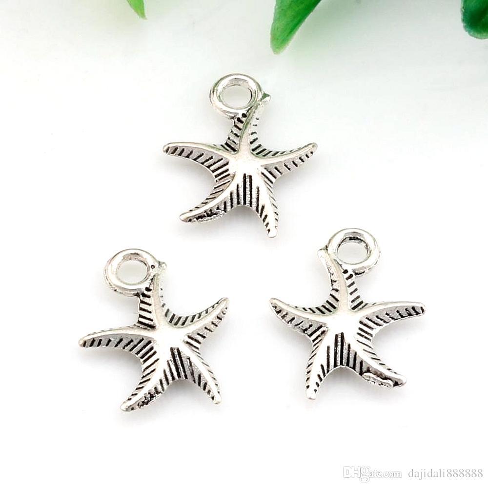 Caliente ! 200 unids Antiqued Aley Silver Starfish Charm Colgante para collar Pulseras Joyas Haciendo artesanía Hecho a mano 13x17mm