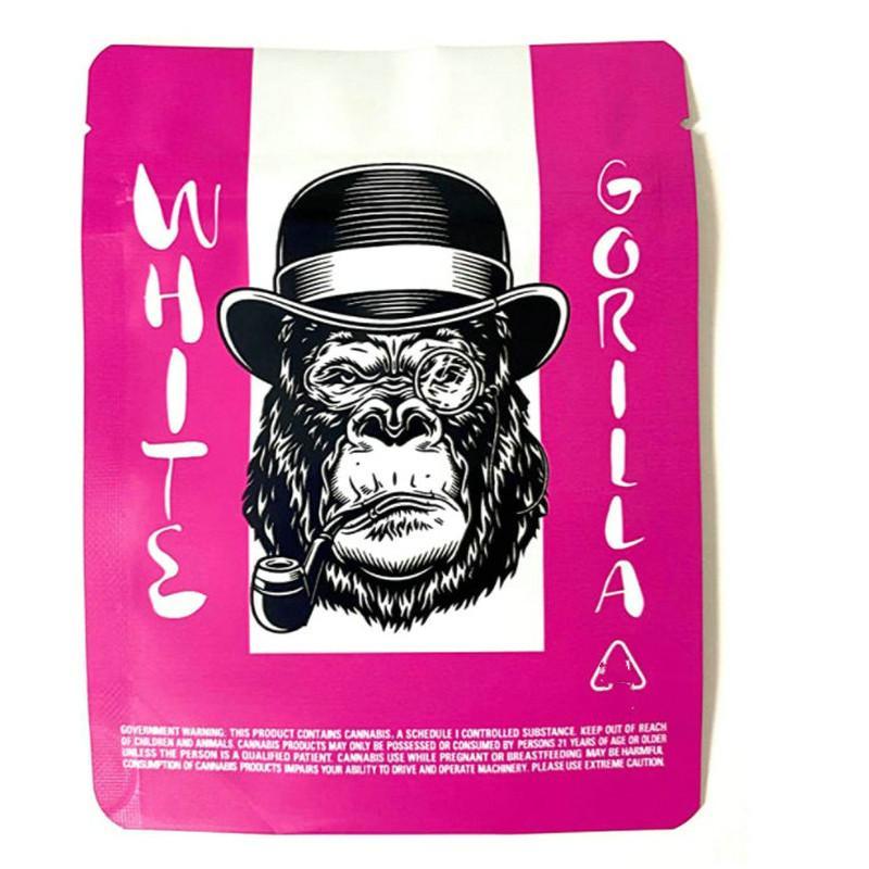 Blanco Gorila Pink Bodas Pastel de boda Caja fuerte de plástico Aluminio Resellable Embalaje Sello de calor Sello de cremallera Galletas Mylar 3.5 Gramos Galletas SF 1 JllLJB