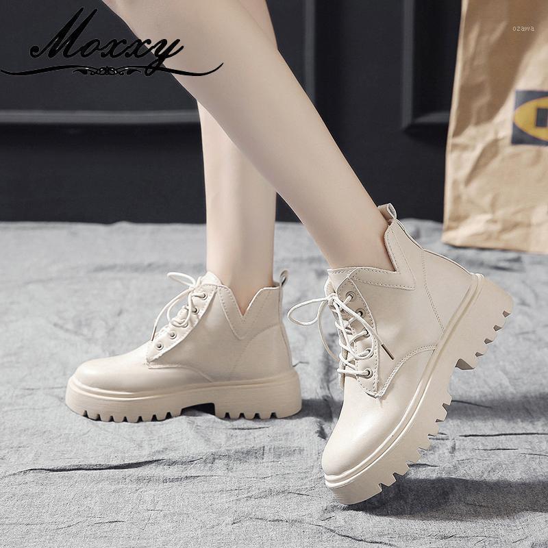 Botlar Siyah Ayak Bileği Kadınlar Için Ayakkabı 2021 Sonbahar Kış Platformu Bej Sıcak Kürk Gotik Deri Savaş Kadın1