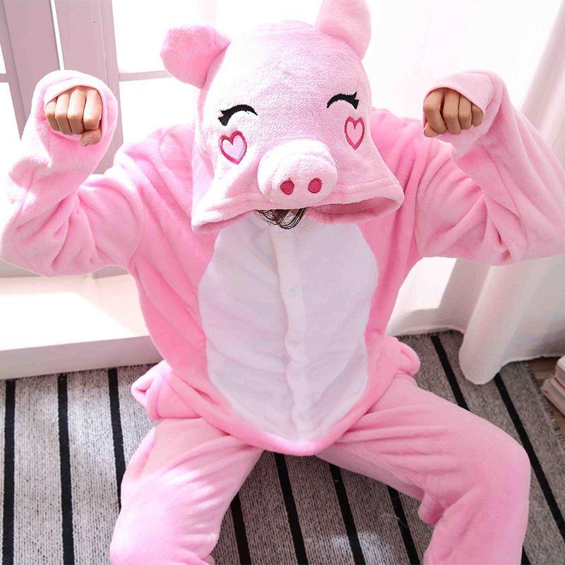 Kigurumi Donne Rana Rosa suini da suini Unisex Pagliaccetti invernali Bambini Costumi anime Adulti Flanel Nightwear Pigiama