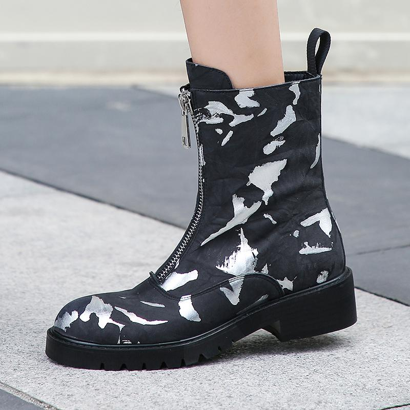 2021 Женский горячий натуральный граффити напечатанный передний Zip и America Онлайн женщина Winte Boots N8NA