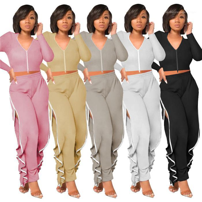 Tracksuits Сплошная Цветная молния с длинным рукавом Сексуальные футболки и нерегулярные разъемные брюки женские дизайнерская одежда 2020 женщин два частя