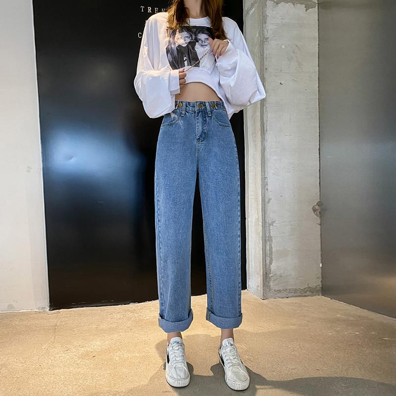 Hohe Taille Right Pipe Jeans Frauen 2020 Neue Koreanische Version Losse und Dunne, High-Fashion All Match Drapers Wijde Boek