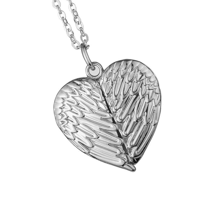 Wing Charms Necklace Sublimation 8 Love Lovers Valentine Chain Zinc Accessory 5mo Jewelry Heart Angel Alloy Openable Day Blanks Pendant Oipn
