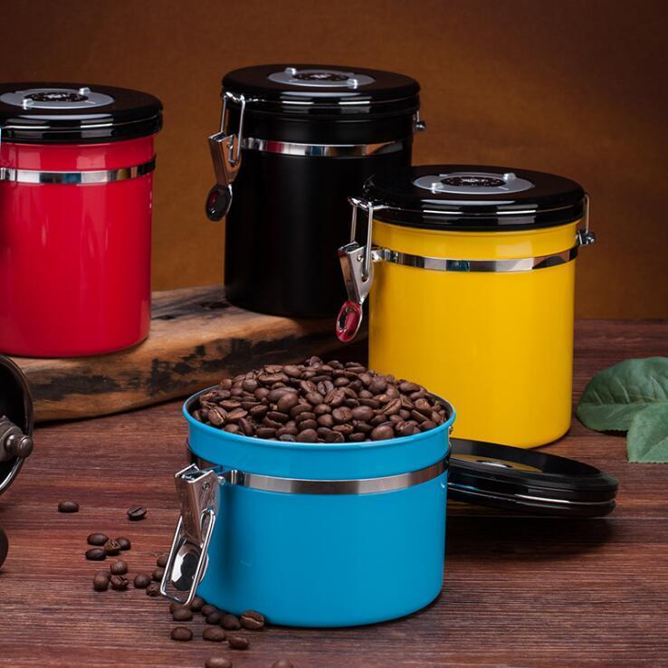 Magazzino di caffè Storager Jar Storage Contenitori in acciaio inox Acciaio inossidabile Aerenthight Can Coffee Farina di zucchero Barattolo Bottiglie da cucina Mare Shipping GWD4023