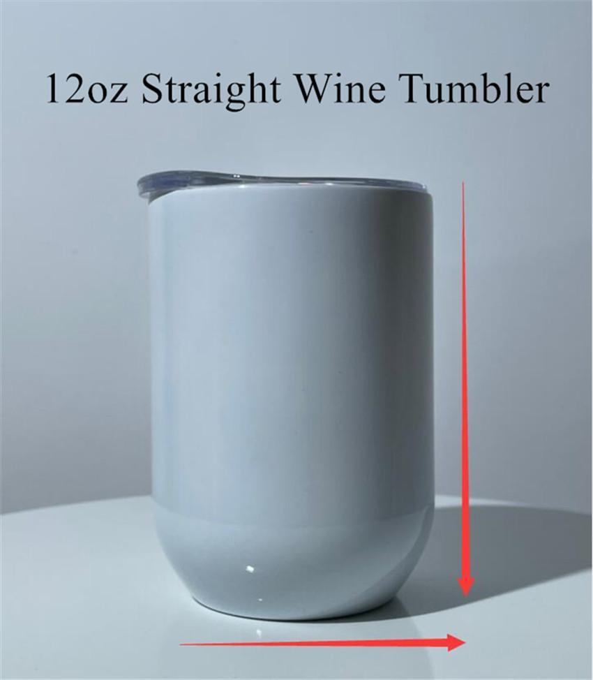 12oz sublimação tumbler straight tumbler aço inoxidável copo de vinho isolamento caneca de café sublimação tumblers garrafa de água frete grátis A02