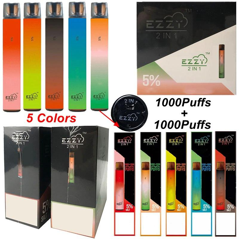 ezzy 2in1 일회용 vape 펜 2000Puffs 이중 색상 업그레이드 바 2 in 1 증기 펜 스타터 키트 6.5ml 포드 빈 사전 채워진 오일 카트 최신