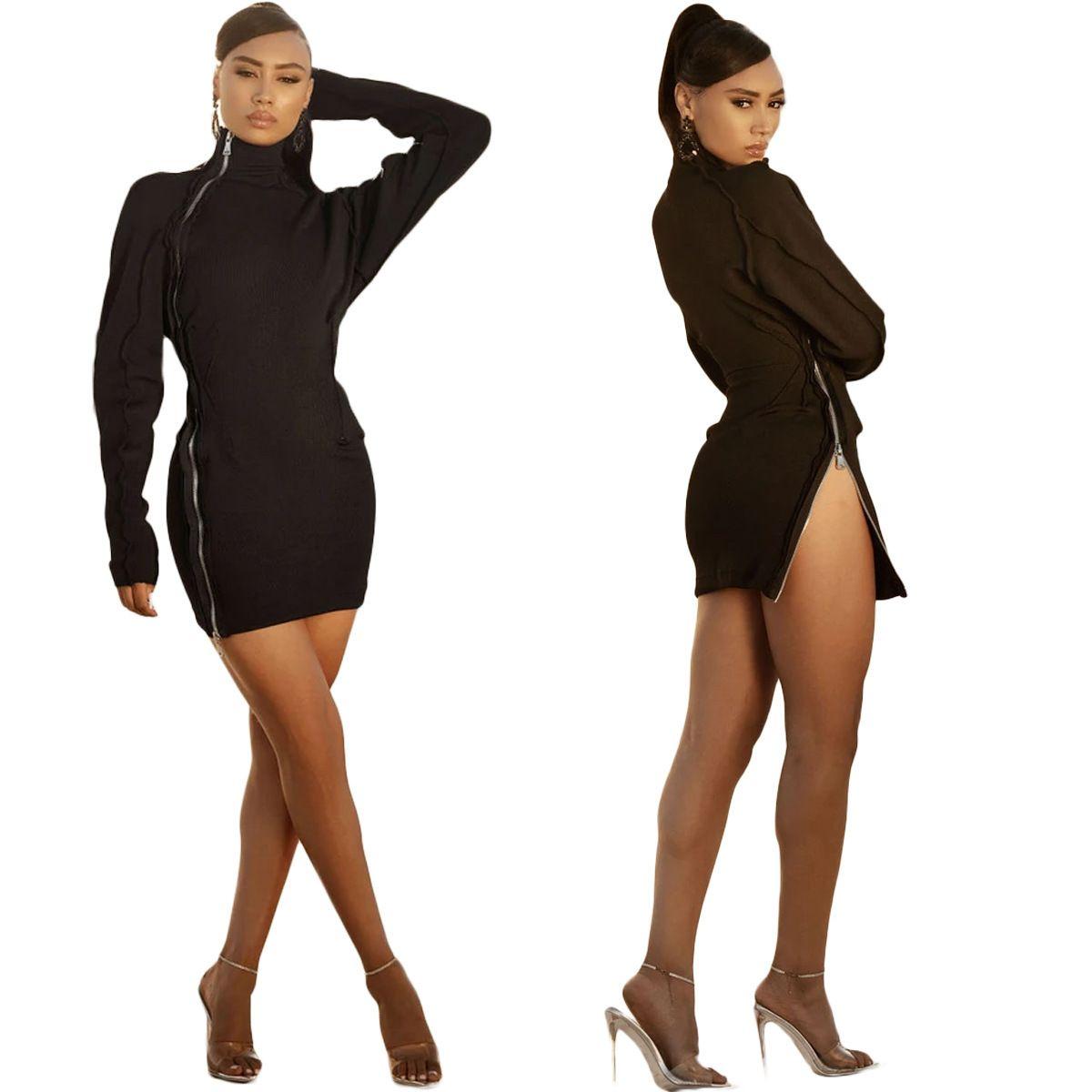 YX9263 Personaggio più venduto da donna Fashion Solid Color Double Zipper Dress Slim