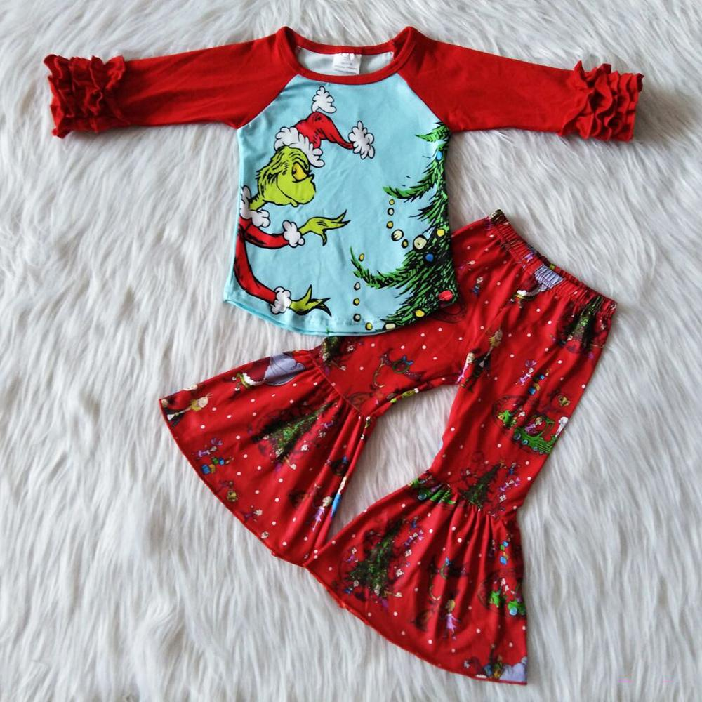 2020 뜨거운 판매 가을 복장 키즈 디자이너 옷 여자 긴 소매 유아 아기 소녀 벨 바닥 복장 부티크 의류 Y1113