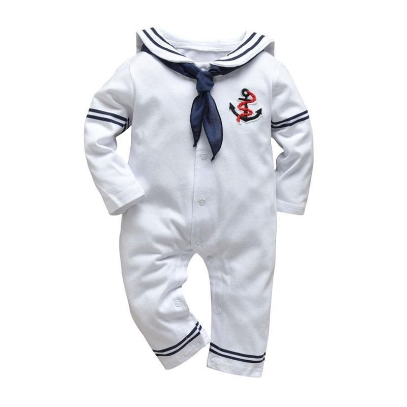Детская одежда Baby Boy Girl Romber Белый военно-морской моряк Униформа Унисекс Унисекс с длинным рукавом Комбинезон Осень Новорожденная детская одежда 201127