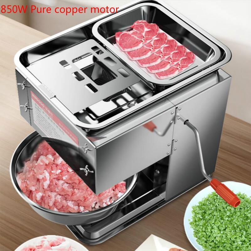 Neue 850W Kommerzielle elektrische Fleischschneider Reiner Kupfermotor Schneller Slicer Automatischer Gemüseschneider Edelstahl Fleischschleifer