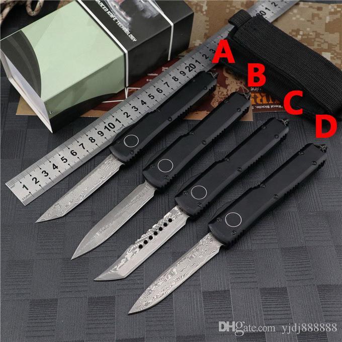 새로운 마이크로 UT85 UT88 다마스커스 자동 칼 야외 캠핑 방어 포켓 나이프 벤치 UTX85 A16 A168 C07 생존 전술 자동 칼