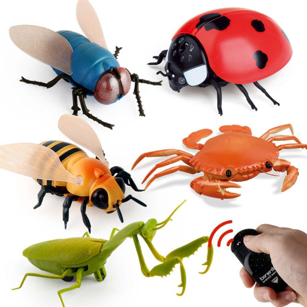 الأشعة rc حشرة الحيوان اللعب محاكاة العنكبوت النحل يطير السلطعون ladyb mantis الكهربائية روبوت هالوين المزحة الحشرات لعبة أطفال لعبة