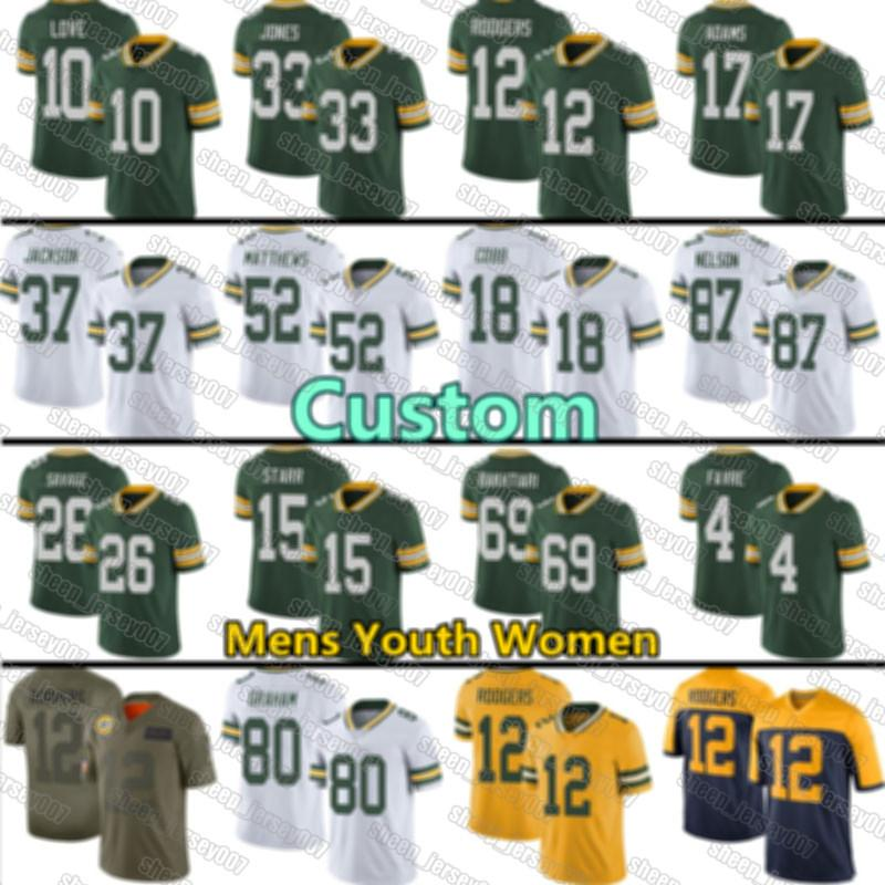 Grüne JugendbuchtenJerseys Packers.12 Aaron Rodgers Individuelle Liebe Aaron Jones Davante Adams Smith Blake Martinez Savage Jr