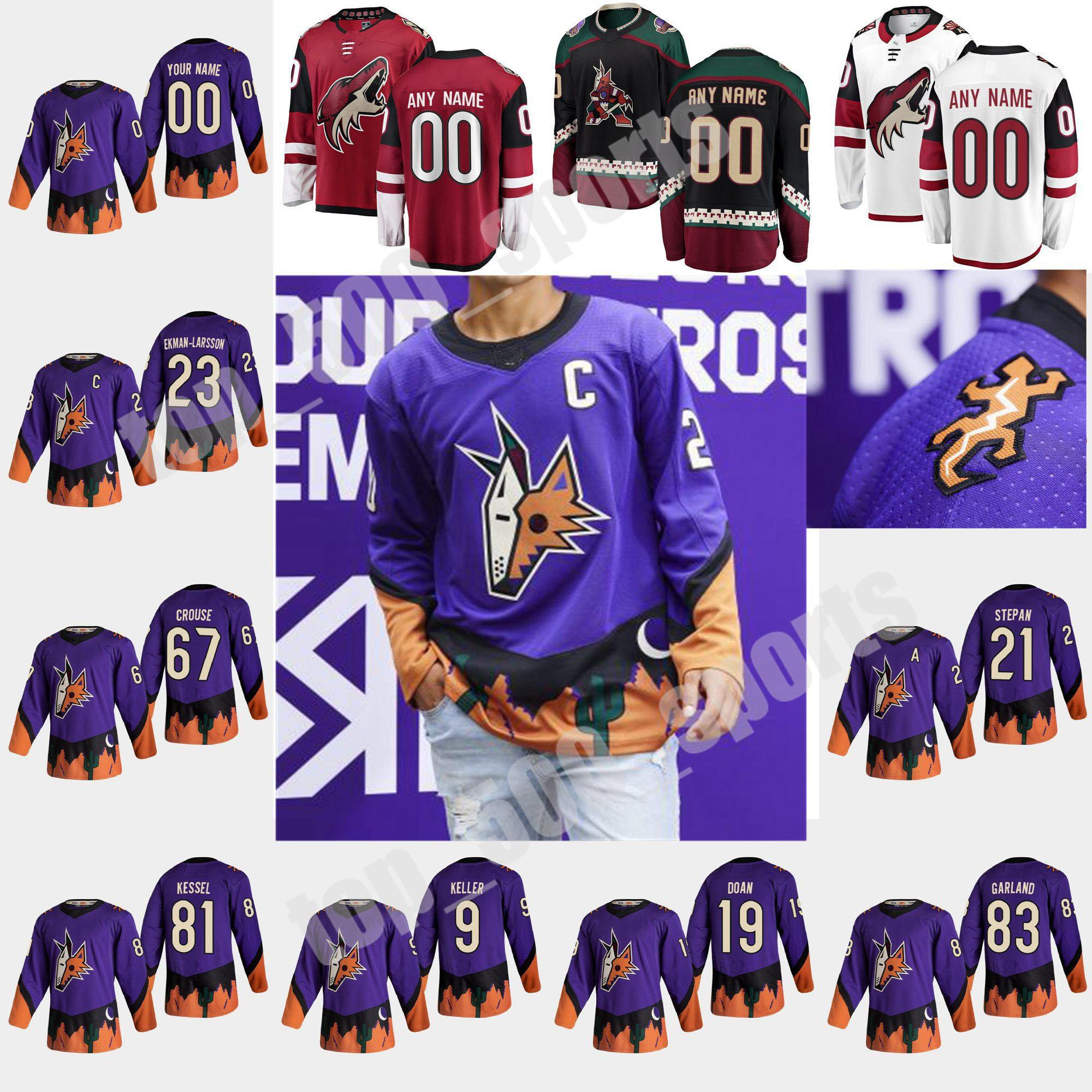 Arizona Coyotes 2021 Reverse Retro Hockey Jerseys 91 Taylor Hall Jersey Phil Kessel Shane Doan Clayton Keller Darcy Kuemper 사용자 정의 스티치