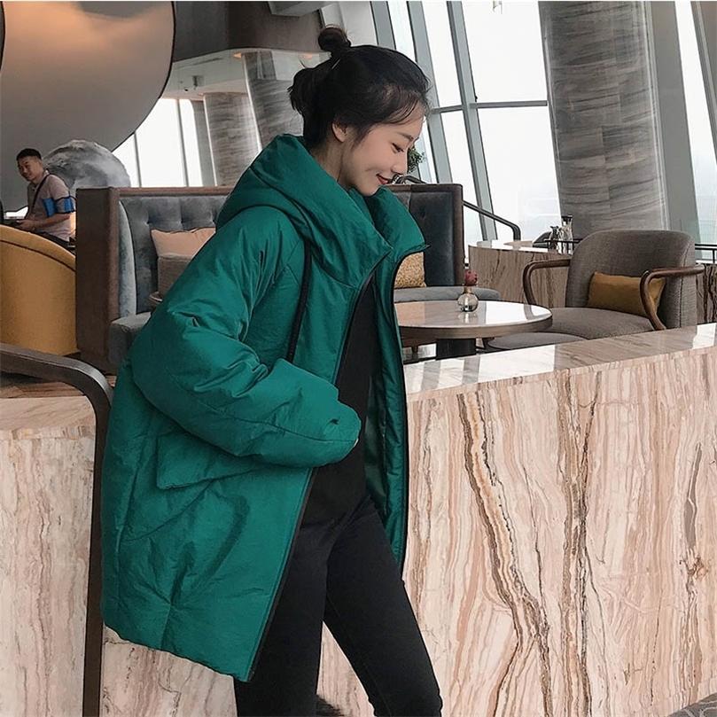 Kadın Moda Kapüşonlu Parkas Kış Yastıklı Ceket Ceket Bayan Orta Uzun Stil Ceket Cebi Kapşonlu Sıcak Ceket Chamarras de Mujer 201211