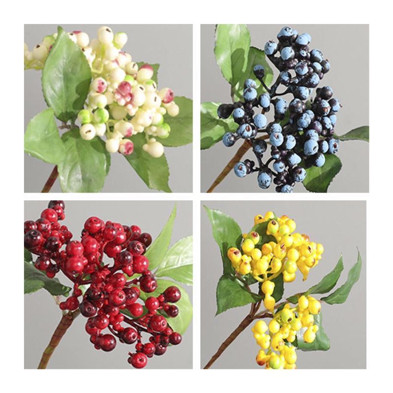 30 cm / 4pcs ramo artificiale del mirtillo, piantas artificiali del BACCA per la ghirlanda del nozze, decorazione del negozio di casa del partito, ramo di fiore fai da te