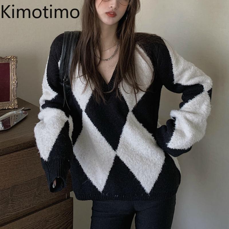 Kimotimo الخامس الرقبة سترة النساء 2020 الخريف البلوفرات أرجيل إنجلترا نمط القمم الكورية أنيقة عارضة هاراجوكو عارضة سترة