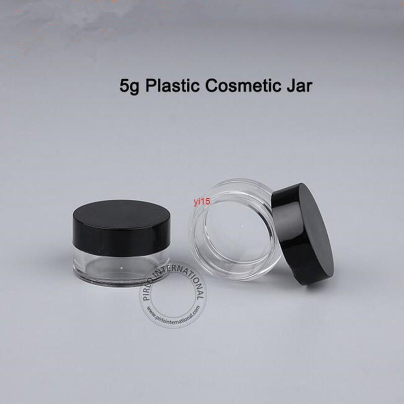 100 adet / grup 5G Plastik Boş Krem Kavanoz 1/6 OZ Siyah Kap Flakon Küçük Taşınabilir Konteyner Doldurulabilir Göz Farı Pot Örnek PaketlemeGiyiz Qualitty
