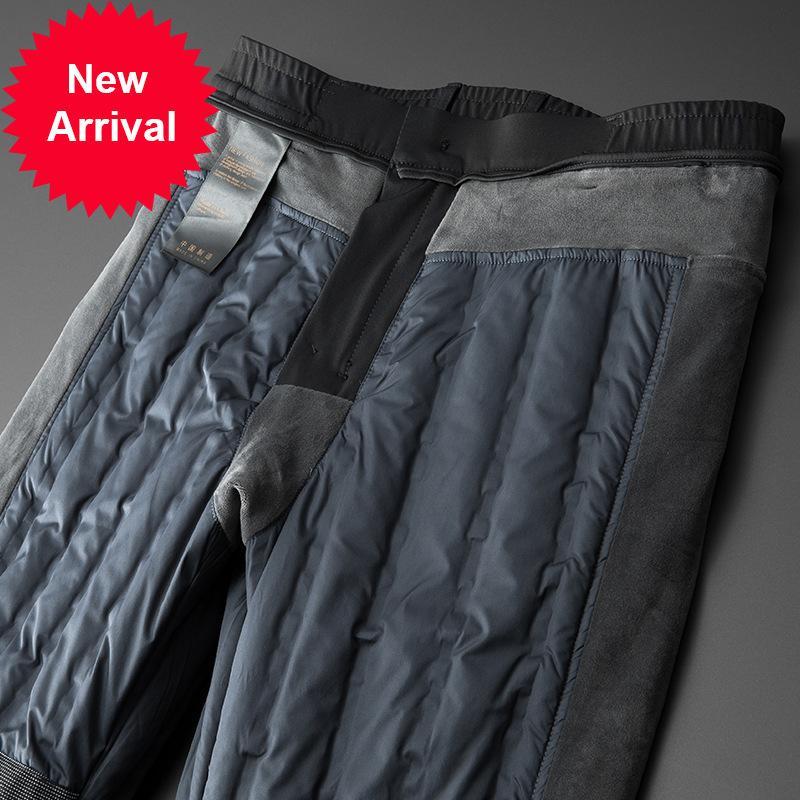 Erkekler için orta yaşlı ve yaşlı yüksek bel düz tüp 90 beyaz ördek aşağı iş rahat erkek pantolon