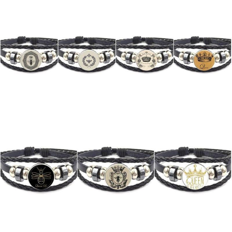 Ej glaçure pour cadeau unisexe Vintage mode de mode en cuir noir bracelet bracelets bijoux hangles bijoux couronne