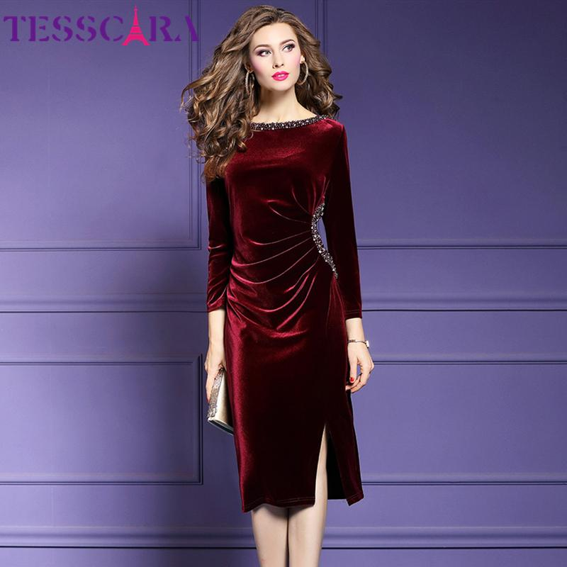Tesscara Femmes Automne Hiver Élégant Perles Élégantes Même Parti Robe Festa Femelle Party Robe Haute Qualité Designer Velvet Vestidos
