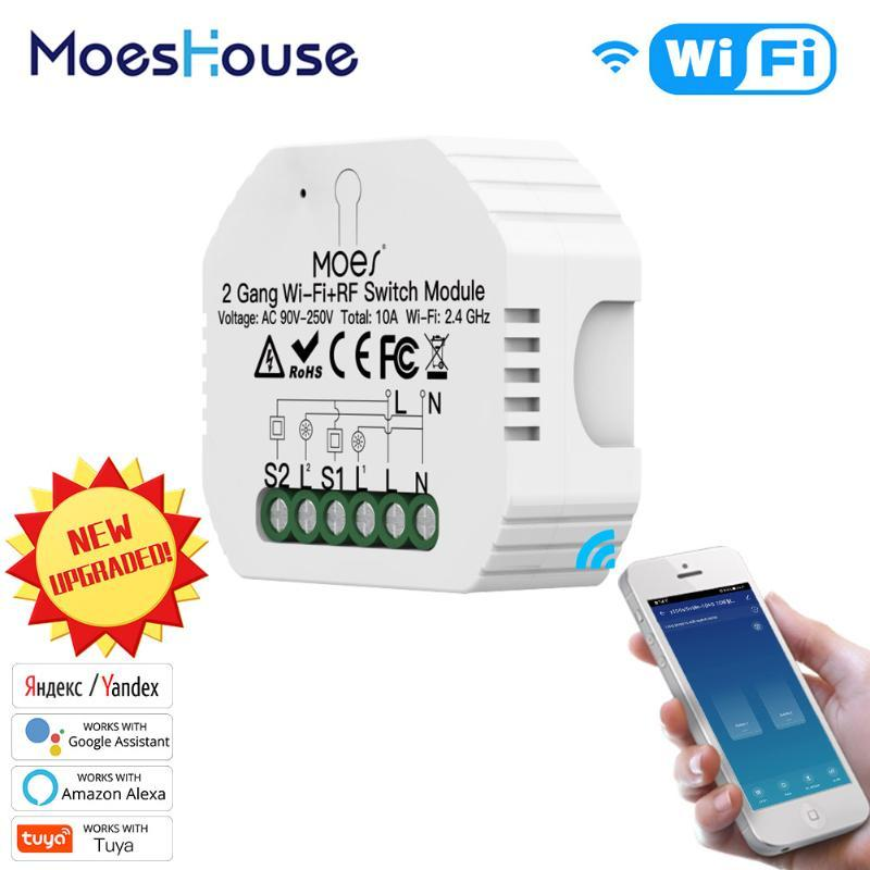 Contrôle de la maison intelligente 2 Gieu WiFi Commutateur Light WiFi DIY Disjoncteur Module Life / TUYA APP Télécommande, fonctionnant avec Alexa Echo Google