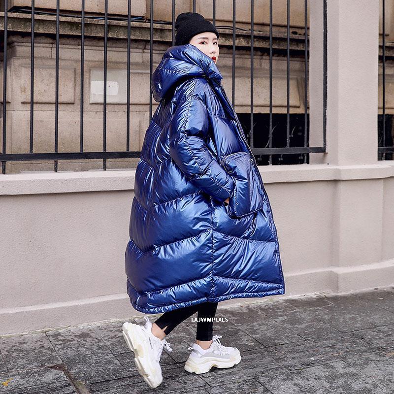 2021 패션 블루 광택 반짝 이는 겨울 자켓 여성 긴 후드 따뜻한 복어 Parka 대형 느슨한 패딩 코트 여성 My83
