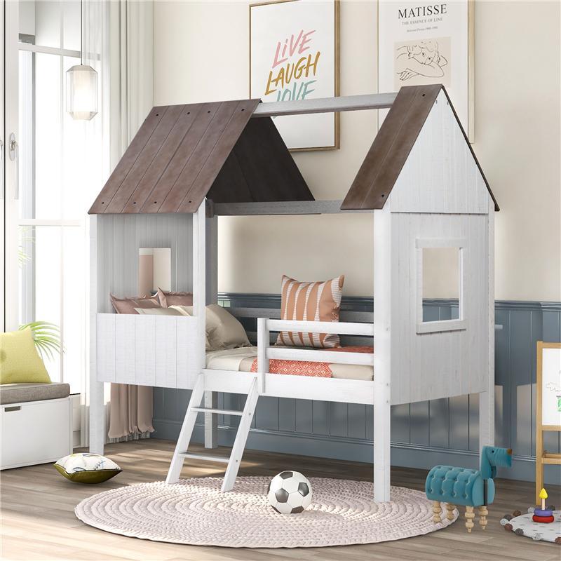 US-Lager-Twin-Größe mit niedrigem Loftholz-Haus-Bett-Möbel mit zwei Seitenfenster für Kinder Teenager Antique White SCHNELLER Lieferung