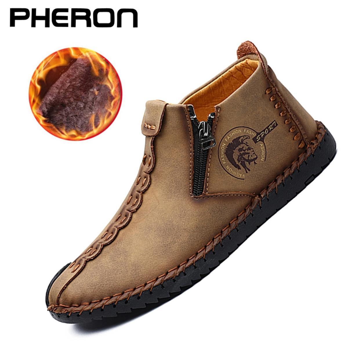 Plus Size Boots Split Leather Super Comfort Inverno Caviglia Pelliccia di pelliccia da uomo Scarpe da uomo 201128