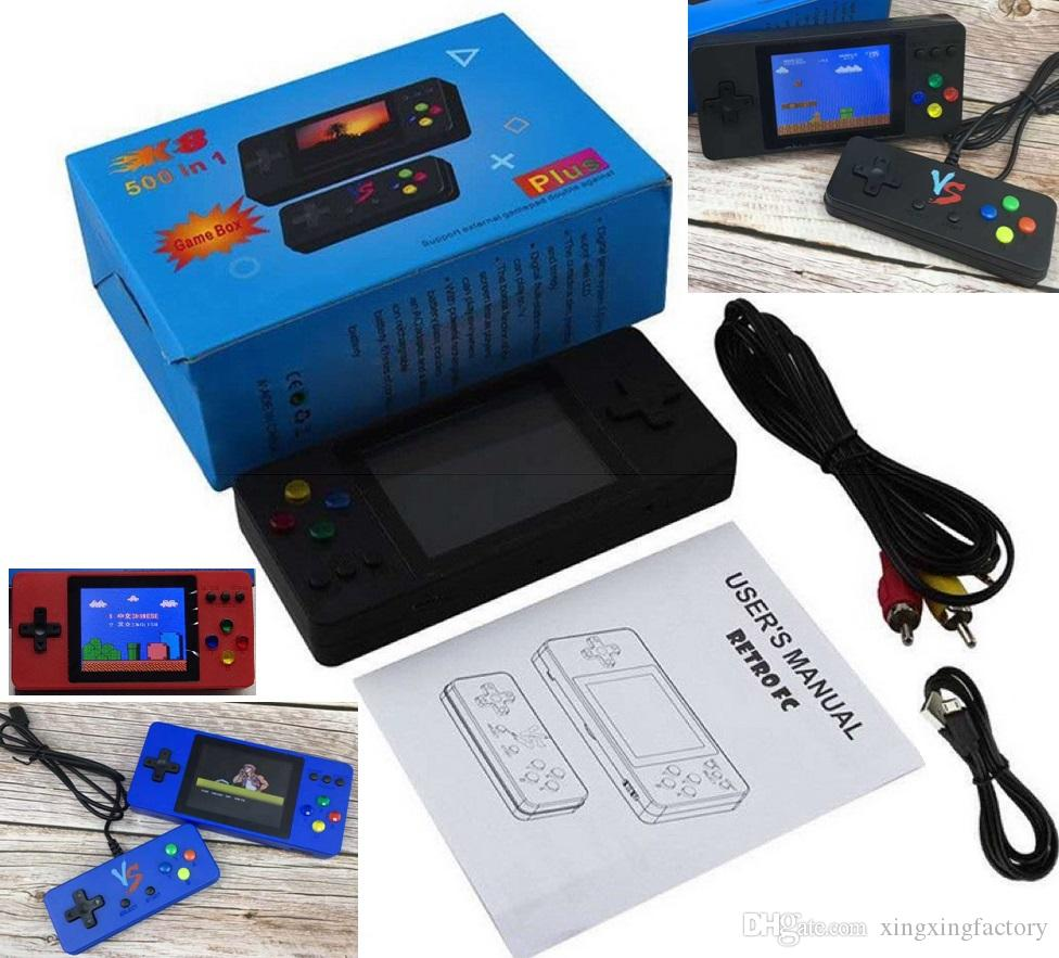K8 Portable Doubles Handheld TV Video Game Console Mini Portable Handheld Game Box 500-in-1 Arcade Play Handheld Game Player wholesale