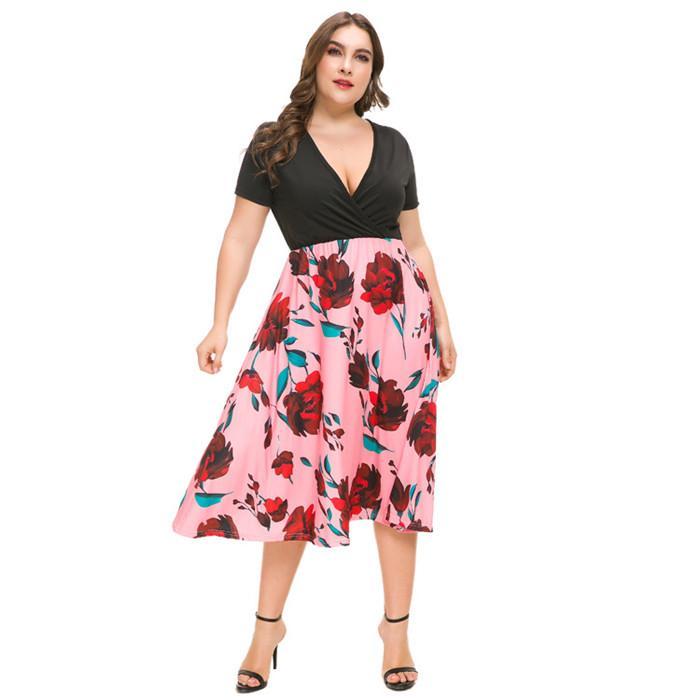 Плюс размер женские дизайнерские платья мода цветочные напечатанные глубокие V-образные шеи плиссированные платья летнее женское платье с коротким рукавом