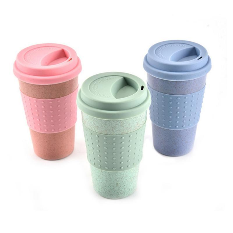 Tasse de café portable camping extérieur randonnée pique-nique tasse mugs paille de blé plastique tasse de café avec couvercle voyage facile go tasse
