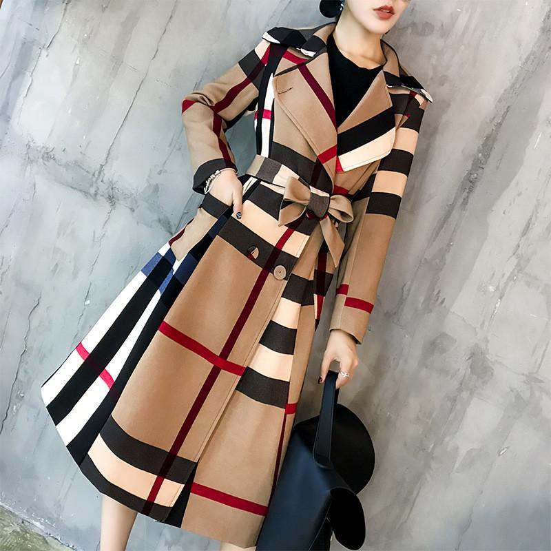 가을과 겨울 여성의 격자 무늬 트렌드 코트 새로운 여성 옷깃 중간 길이 간단한 색상 일치하는 레트로 격자 무늬 기질 방풍기